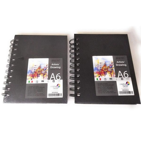 Brustro Artists Sketchbook A6 Size WIRO Bound, 116 Pages, 160 GSM (Pack of 2)