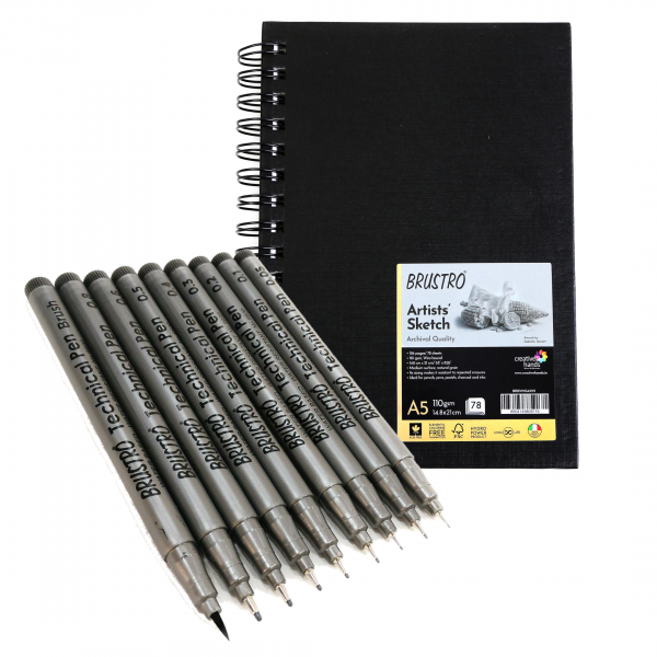 Brustro Technical Pen Assorted Pack of 9 with Artist Sketch Book 110 GSM A5 Wiro Journal (156 Pages)
