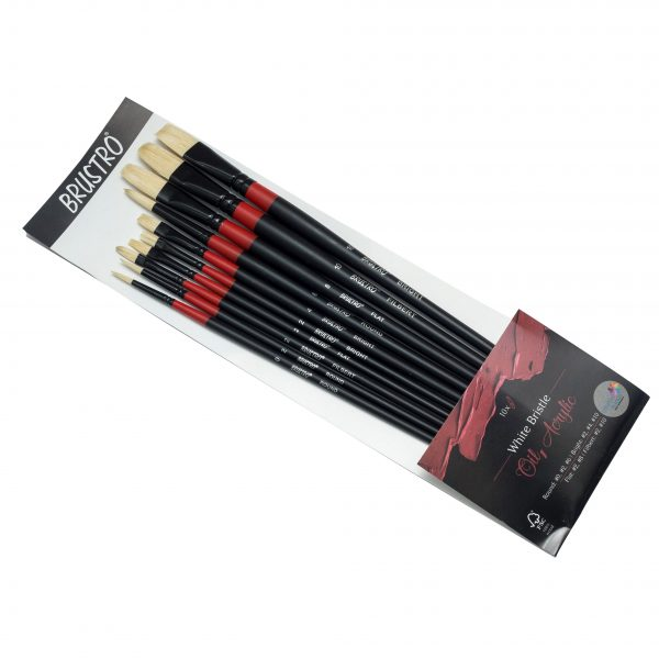 BRUSTRO Artists' White Bristle Set of 10 Brushes for Oil and Acrylic