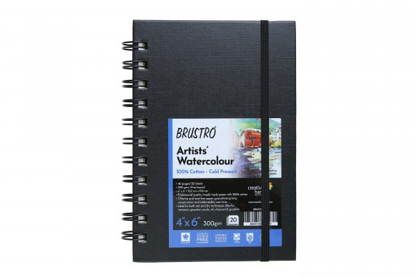 """Brustro Artist 100% Cotton Watercolour Wiro Bound Journal Cold Pressed 300 GSM, 4"""" X 6"""" - (20 Sheets)"""