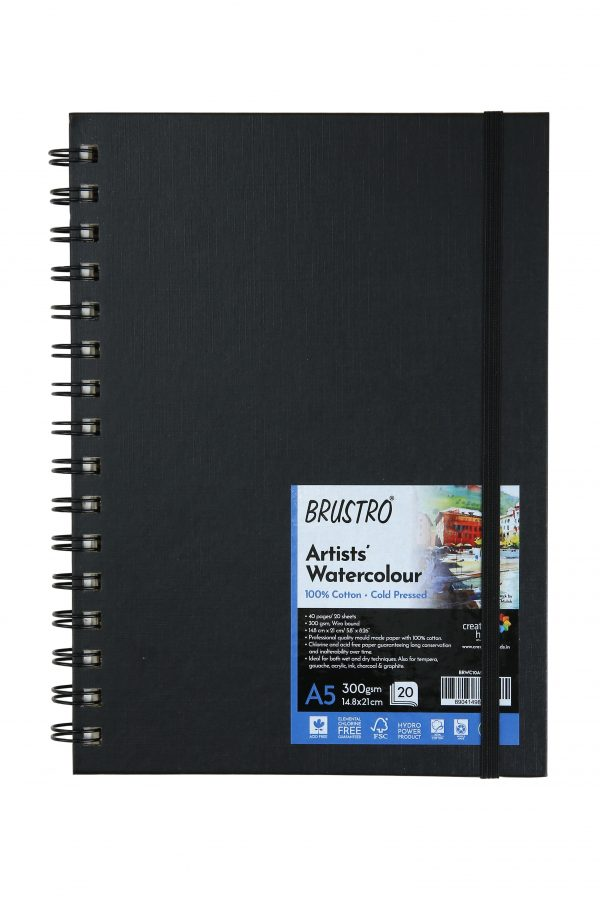 BRUSTRO Artist 100% Cotton Watercolour Wiro Bound Journal Cold Pressed 300 GSM, A5 - (20 Sheets)