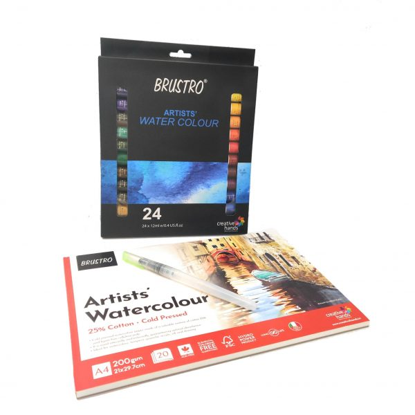 BRUSTRO Artists' Watercolour Set of 24 Colours X 12ML Tubes with Artist 25% Cotton Watercolour Pad Cold Pressed 200 GSM A4 Pad 20 Sheets and Aqua Squeeze Leak Proof Brush Pen