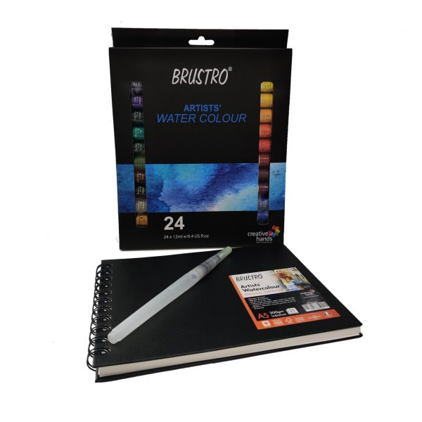 BRUSTRO Artists' Watercolour Set of 24 Colours X 12ML Tubes with Artist 25% Cotton Watercolour Journal Cold Pressed 200 GSM A5-25 Sheets and Aqua Squeeze Leak Proof Brush Pen