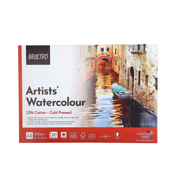 BRUSTRO Artist 25% Cotton Watercolour Glued Pad Cold Pressed 200 GSM A3-20 Sheets