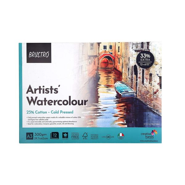 BRUSTRO 25% Cotton Watercolour Paper 300 GSM A3 Glued Pad 12 + 4 Free Sheets