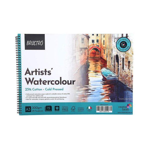 BRUSTRO Artist 25% Cotton Watercolour Pad, Wiro Cold Pressed, 300 GSM A3-15 Sheets