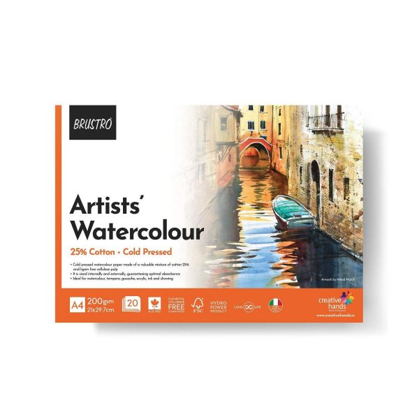 BRUSTRO Artist 25% Cotton Watercolour Pad Cold Pressed 200 GSM A4 Pad 20 Sheets