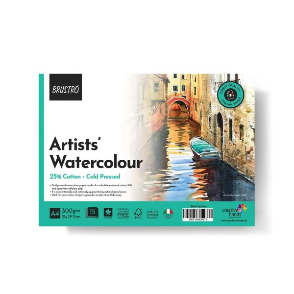 BRUSTRO Artist Watercolour Pad Cold Pressed 300 GSM 25% Cotton A4 - (12 + 4 Free Sheets)