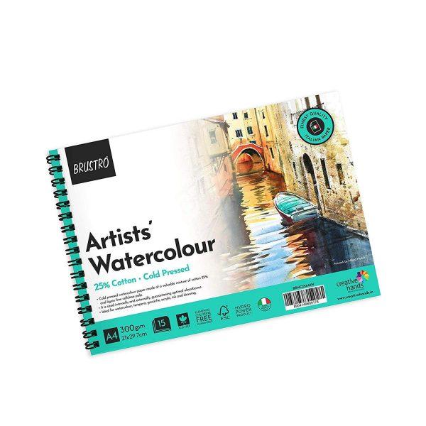 BRUSTRO Artist Watercolour Pad 25% Cotton 300 GSM A4 Wiro - 15 Sheets