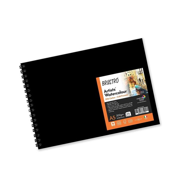 BRUSTRO Artist 25% Cotton Watercolour Wiro Journal Cold Pressed 200 GSM A5-25 Sheets