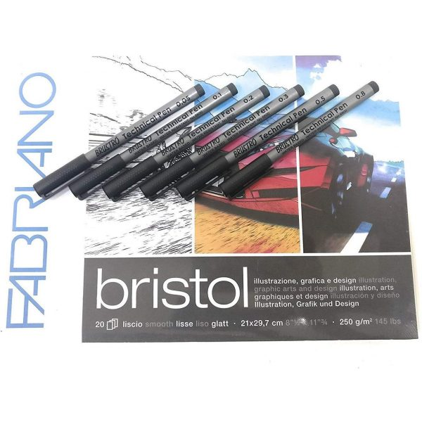 BRUSTRO ComboTechnical Pen Black & Fabriano Bristol Glued Block A4 (Assorted) - Set of 6