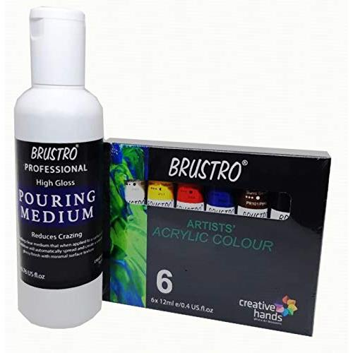 BRUSTRO Pouring Medium 200 Ml with Brustro Artists' Acrylic Colour Set of 6 Colours X 12ML Tubes