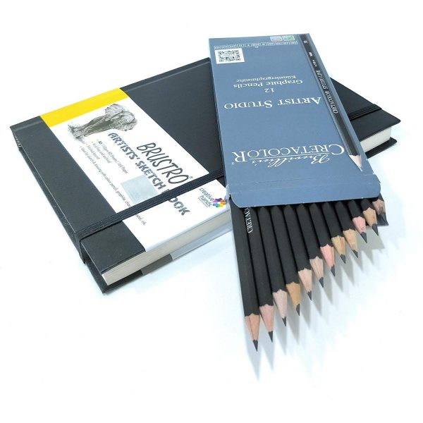 Brustro Stitched Bound A5 Size Artists Sketch Book & Cretacolor Artist Studio Line Graphite Pencil (Pack of 12)