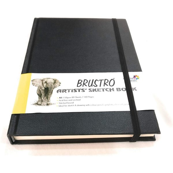 Brustro Artists Sketch Book Stitched Bound A5 Size, 160 Pages Acid Free & Technical Pen, 110 GSM (Pack of 6)