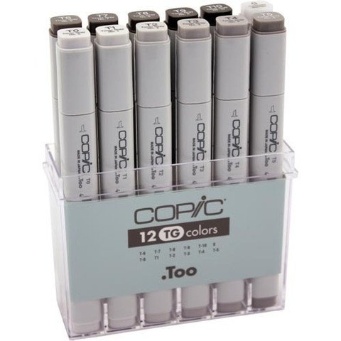 Copic 12 Color Markers Set (Toner Grey)