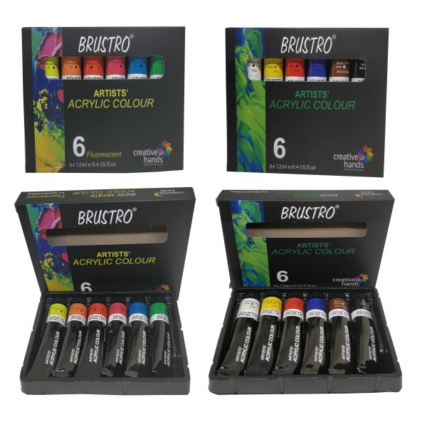 Brustro Arists' Acrylic, Combo of Primary & Fluorescent (Set of 6 Each) Total 12 Tubes of 12 ml