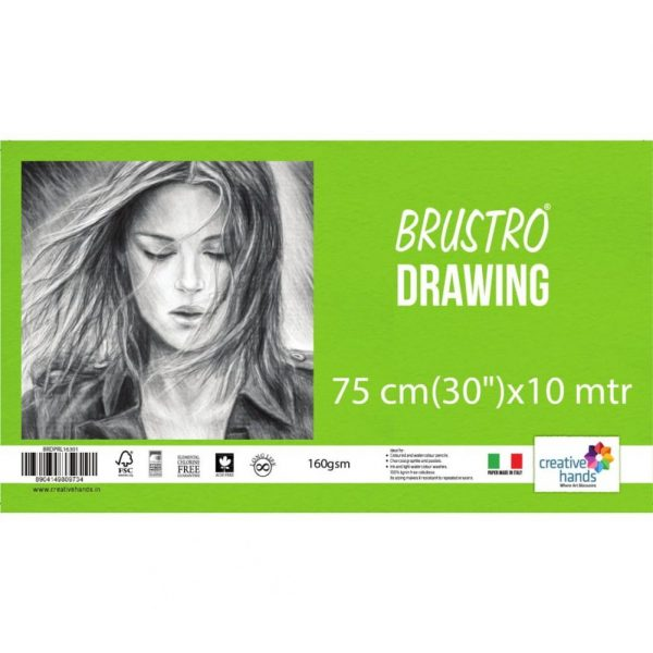 """Brustro Artist Drawing Paper Roll 160 gsm. Size 75 cm(30"""") x10 mtr"""