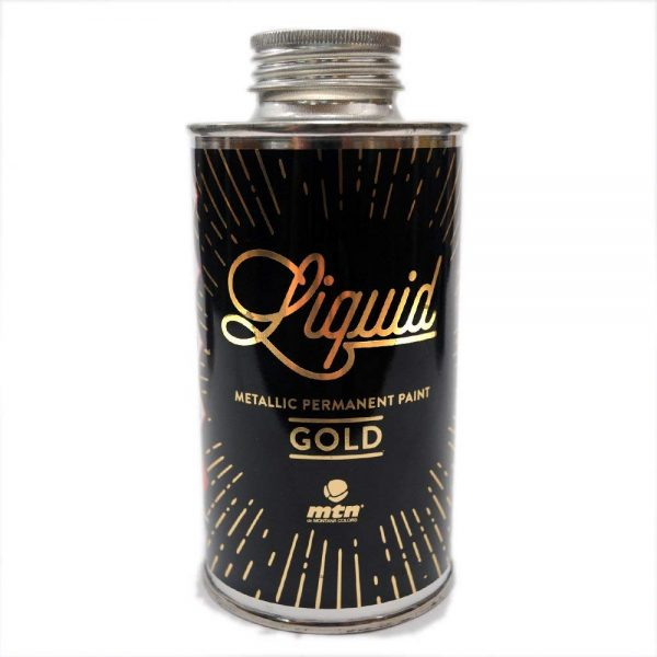 MTN Liquid Metallic Permanent Paint Refill 200ml Gold (Permanent Alcohol Based Professional Paint for Graffiti Urban Street Art Markers, Squeezers, Brushes, and Mops.)