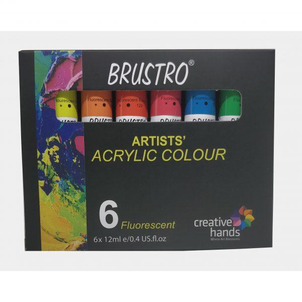 BRUSTRO ARTISTS' ACRYLIC COLOUR SET OF 6 FLUORESCENT COLOURS X 12ML TUBES