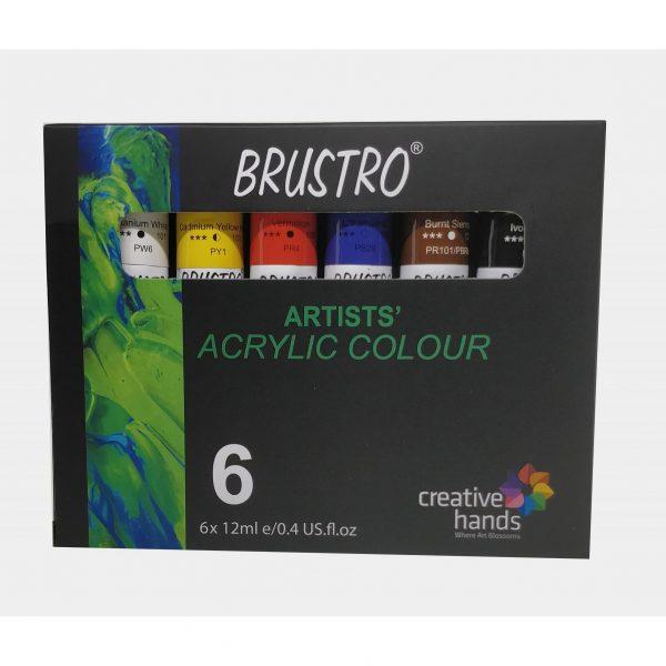 BRUSTRO ARTISTS' ACRYLIC COLOUR SET OF 6 COLOURS X 12ML TUBES