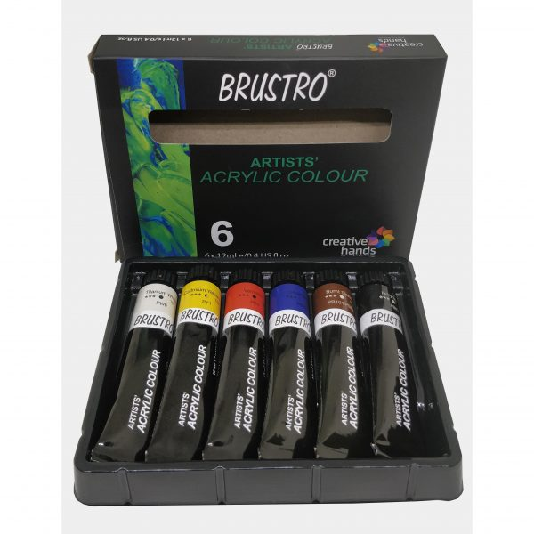 BRUSTRO ARTISTS' ACRYLIC COLOUR SET OF 6 COLOURS X 12ML TUBES