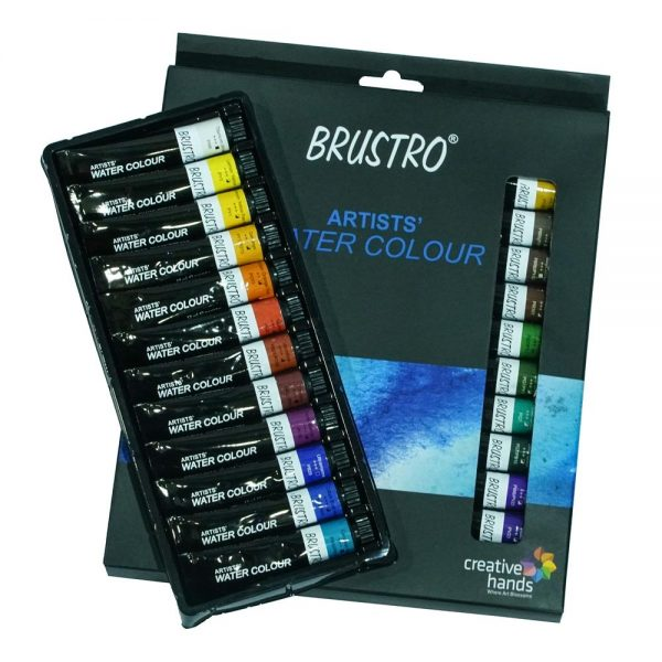 BRUSTRO ARTISTS' WATERCOLOUR SET OF 24 COLOURS X 12ML TUBES