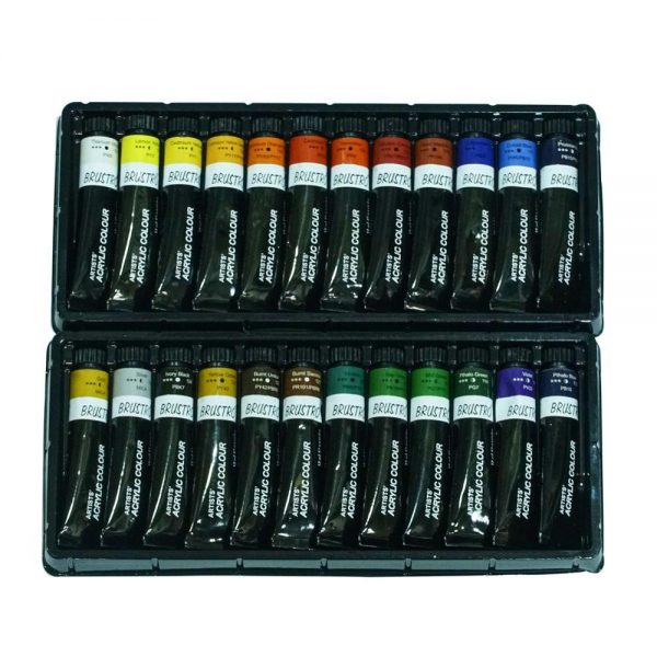 BRUSTRO ARTISTS' ACRYLIC COLOUR SET OF 24 COLOURS X 12ML TUBES