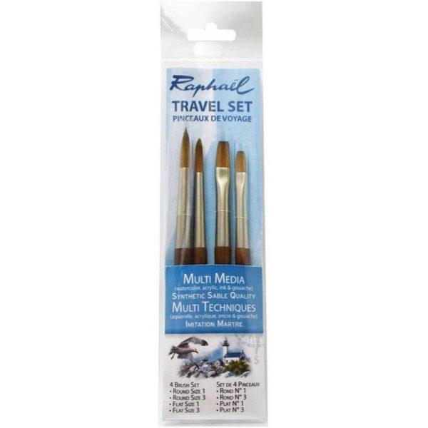 Raphael Mini Precision Soft Synthetic Travel Brush - Size (Round -1, 3 & Flat -1, 3)