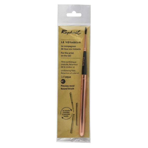 Raphael Le Voyageur Synthetic Soft Aqua Pocket Travel Mop Watercolour Brush with Reversible Metallic Handle Size - 6