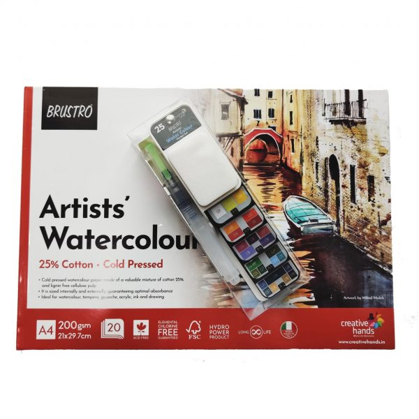 Brustro Artists' Watercolour Pan Set of 25 with Artist 25% Cotton Watercolour Pad Cold Pressed 200 GSM A4 Pad 20 Sheets