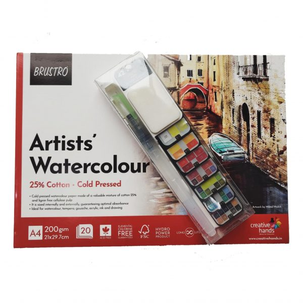 Brustro Artists' Watercolour Pan Set of 42 with Artist 25% Cotton Watercolour Pad Cold Pressed 200 GSM A4 Pad 20 Sheets