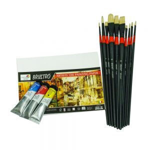 Brustro Artists' White Bristle Set of 10 Brushes With Brustro Artists' Oil Painting Papers 300 GSM (20 X 16 cm) and 3 Sennelier Rive Gauche Artist Oil Colors (21ml Each) (COMBO)