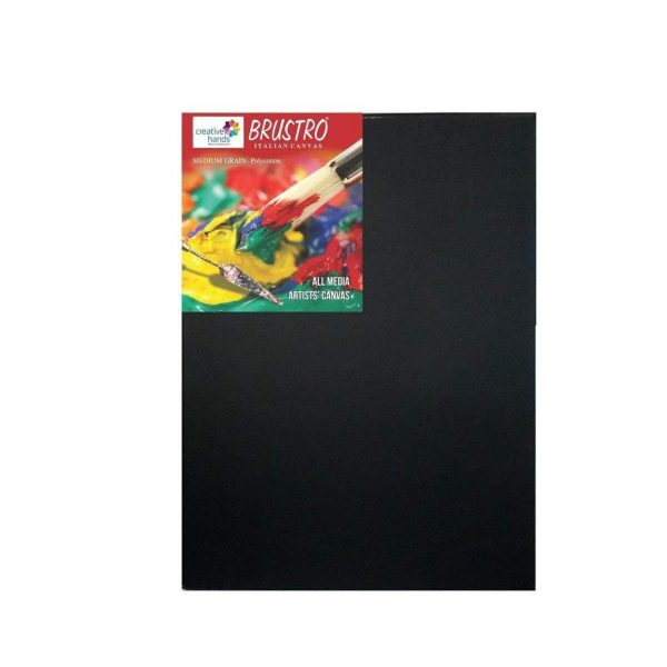 Brustro Stretched Canvas black Poly cotton (OPEN STOCK)