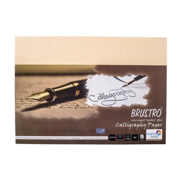 Brustro Calligraphy Papers 175 GSM A3 (Assorted Pack of 12 Sheets)