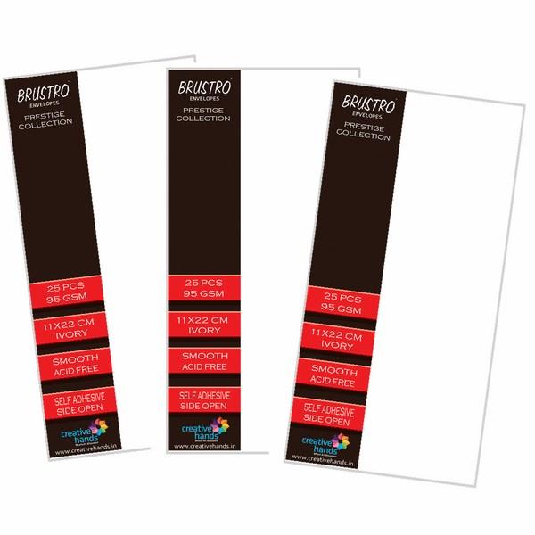 Brustro Prestige Collection Side Open Envelopes 11X22CM ( Pack of 3 each of 25 Envelopes)