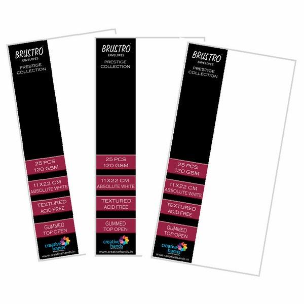 Brustro Prestige Collection Top Open Envelopes 11X22CM ( Pack of 3 each of 25 Envelopes)