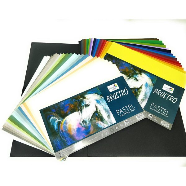 Brustro Artist's Pastel Papers 160 GSM A4 Bright & Soft With Cretacolor Fine Art Pastel Pencil Set of 12