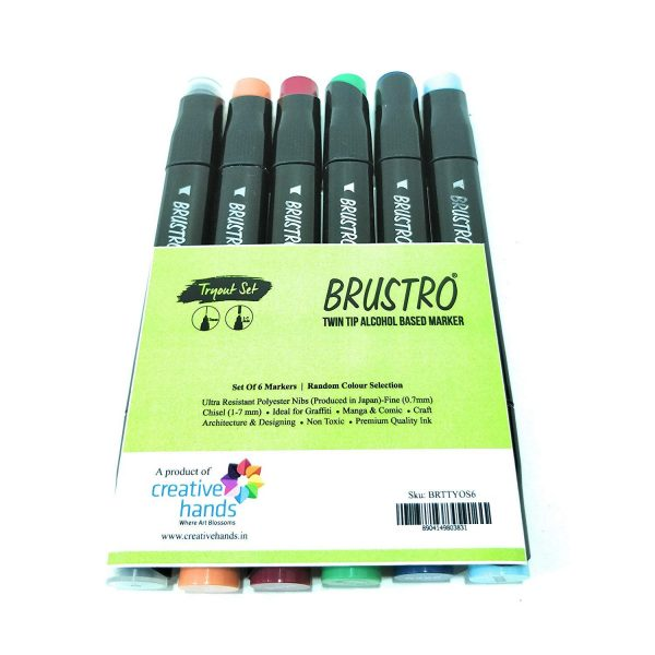 Try It ! Brustro Twin Tip Alcohol Based Markers (6 Shades Random Selection)