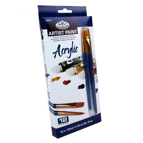 Royal & Langnickel Acrylic Paint Set 12 Colors + 2 Brushes