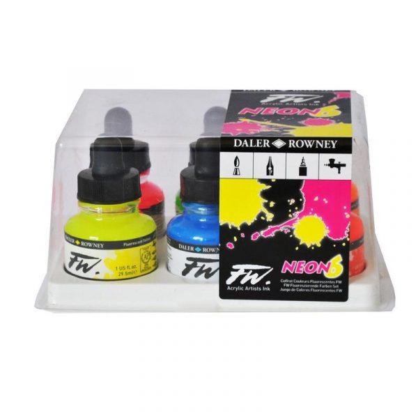 Daler-Rowney FW Acrylic Artists' Ink Neon Set of 6X29.5ML
