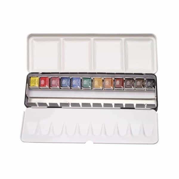 Daler-Rowney Artists' Watercolour Metal Box Set - 12 Half Pan