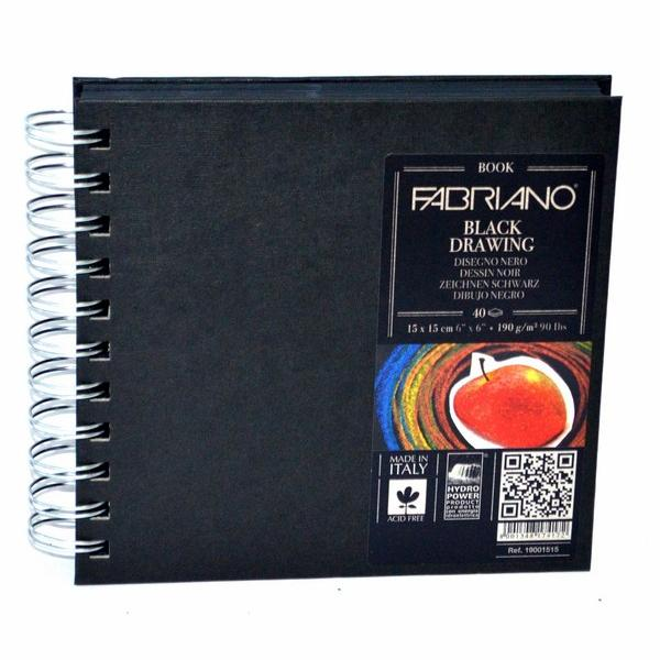 Fabriano Black Drawing Book Spiral Bound Squared 15X15 CM
