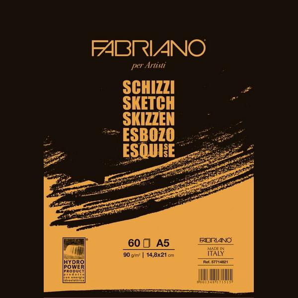 Fabriano Artists' Schizzi Sketch Glued Block 90 GSM A5, 60 Sheets
