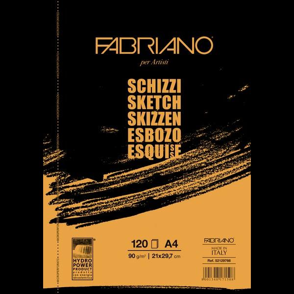 Fabriano Artists' Schizzi Sketch Glued Block 90 GSM A4, 120 Sheets