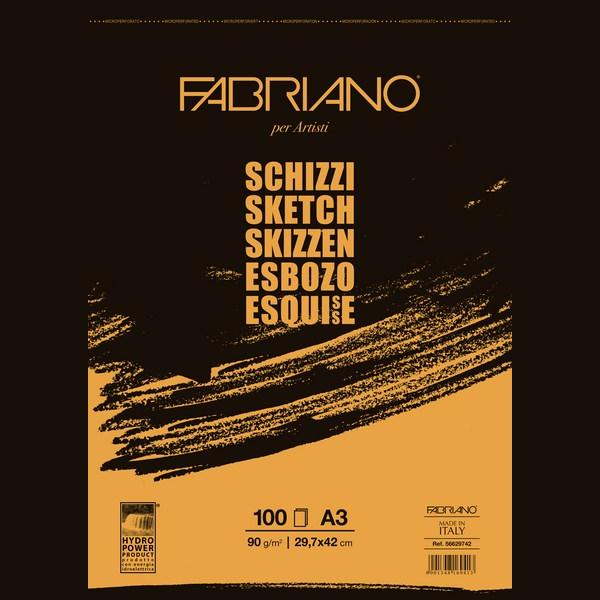 Fabriano Artists' Sketch Glued Block 90 GSM A3, 100 Sheets