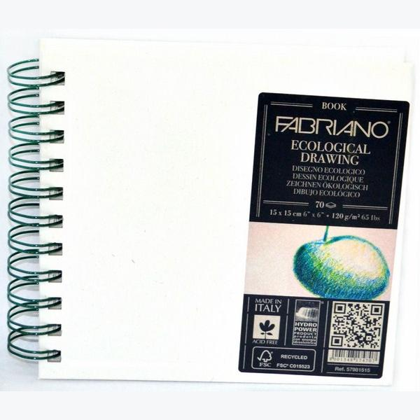 Fabriano Ecological Drawing Book Spiral Bound Squared 15X15 CM