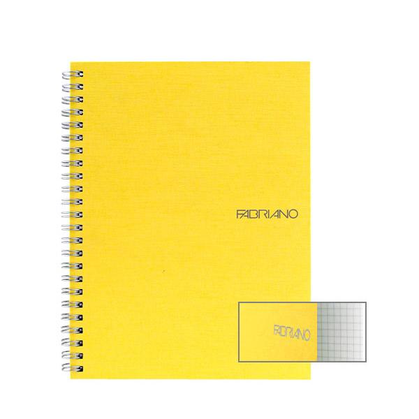Fabriano Ecoqua A4 Spiral Bound Graph 5MM Notebook Yellow