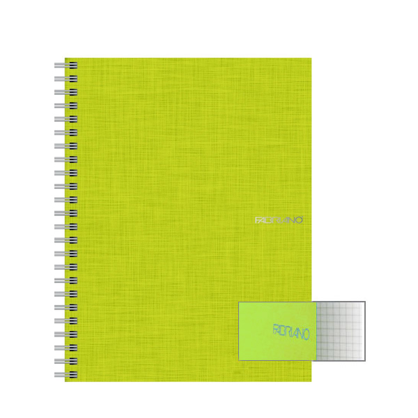 Fabriano Ecoqua A4 Spiral Bound Graph 5MM Notebook Lime