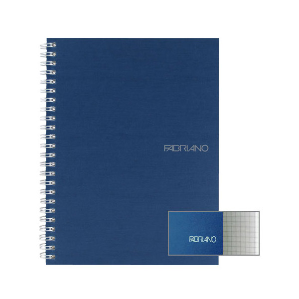 Fabriano Ecoqua A5 Spiral Bound Graph 5MM Notebook Blue