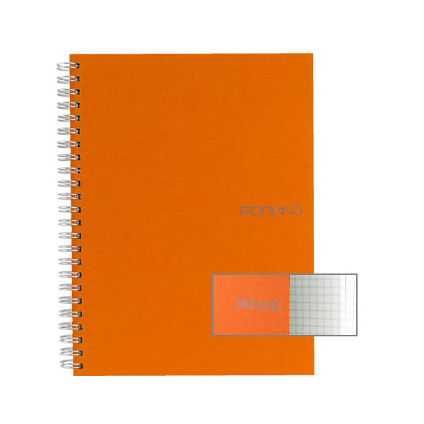 Fabriano Ecoqua A5 Spiral Bound Graph 5MM Notebook Orange
